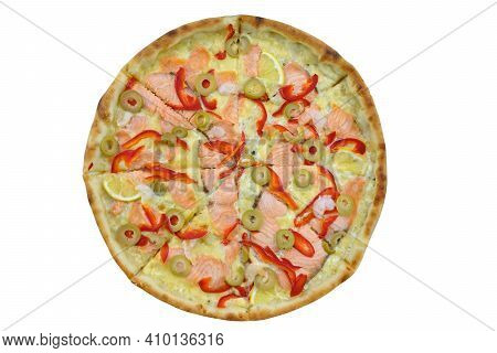 Round Thin Crust Pizza With Red Fish And Sweet Pepper. Fast Food With Fish And Cheese Top View. Roun