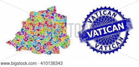 Vatican Map Vector Image. Spot Mosaic And Distress Badge For Vatican Map. Sharp Rosette Blue Mark Wi