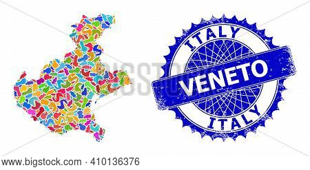 Veneto Region Map Flat Illustration. Blot Pattern And Distress Watermark For Veneto Region Map. Shar