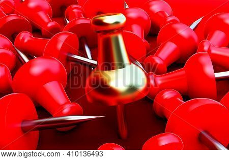 3d Render Of Red And Gold Pushpin, Realistic 3d Push Pins Pinned In Different Angles.