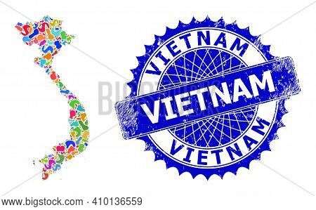 Vietnam Map Flat Illustration. Spot Mosaic And Scratched Stamp For Vietnam Map. Sharp Rosette Blue S