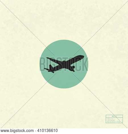 Aircraft In Sky. Airplane Isolated Silhouette. Commercial Air Travel