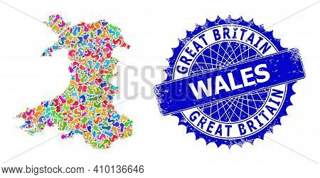 Wales Map Vector Image. Spot Mosaic And Grunge Stamp For Wales Map. Sharp Rosette Blue Badge With Ta