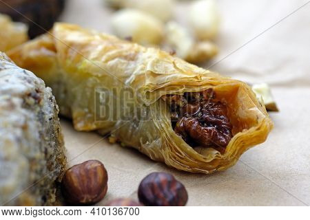 Honey Baklava With Walnuts. Turkish Sweets Based On Honey And Puff Pastry. Delicious Turkish Baklava