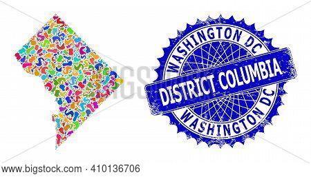 Washington District Columbia Map Template. Spot Collage And Grunge Seal For Washington District Colu