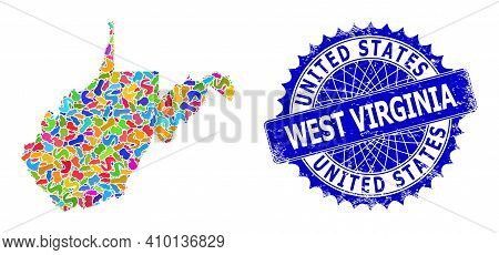 West Virginia State Map Template. Blot Collage And Distress Seal For West Virginia State Map. Sharp