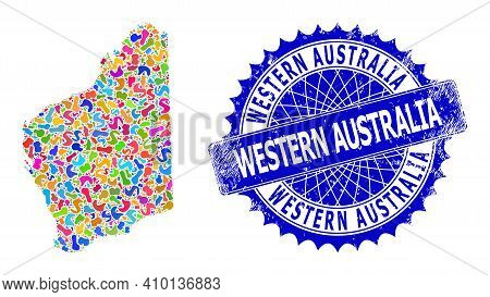 Western Australia Map Vector Image. Blot Mosaic And Distress Seal For Western Australia Map. Sharp R