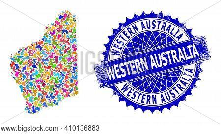 Western Australia Map Vector Image. Blot Mosaic And Distress Seal For Western Australia Map. Sharp R