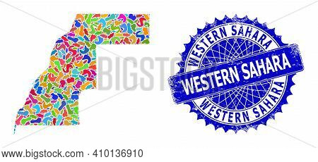 Western Sahara Map Flat Illustration. Blot Pattern And Rubber Stamp Seal For Western Sahara Map. Sha