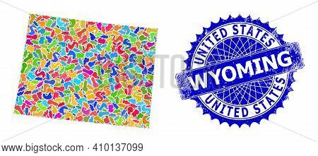 Wyoming State Map Flat Illustration. Blot Collage And Rubber Watermark For Wyoming State Map. Sharp
