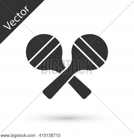 Grey Maracas Icon Isolated On White Background. Music Maracas Instrument Mexico. Vector
