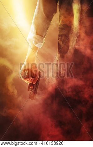 Man holding gun on red smoke background