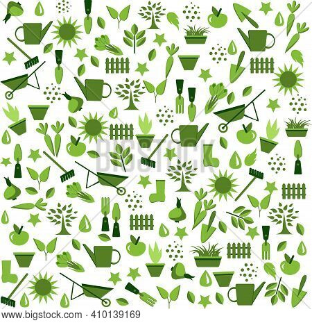 Garden And Vegetable Garden.spring Planting.a Pattern Featuring Vegetable, Fruit. And Garden Tools F