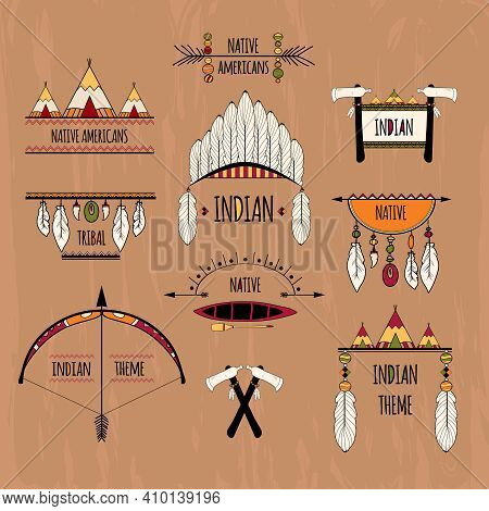 Indian Native Americans Tribal Aztec Decorative Elements Colored Sketch Labels Set Isolated Vector I