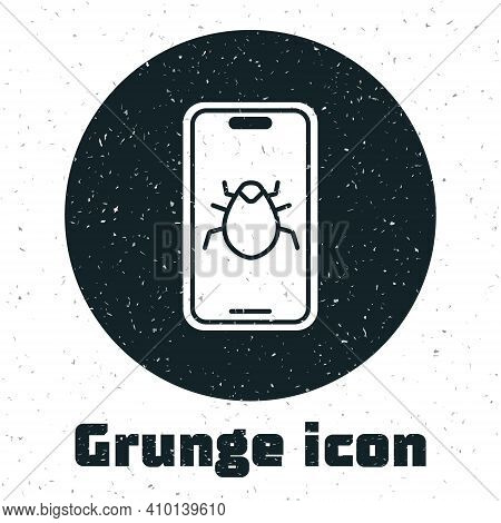 Grunge System Bug On Mobile Icon Isolated On White Background. Code Bug Concept. Bug In The System.