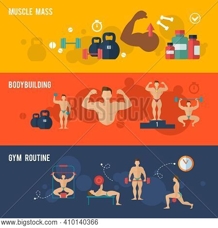 Bodybuilding Horizontal Banner Set With Muscle Mass Gym Routine Elements Isolated Vector Illustratio