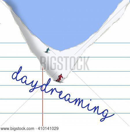 Snow Skiiers Are Seen Gliding Down The Slope Created By Torn School Notebook Paper In This 3-d Illus