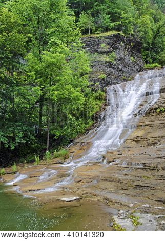 Enfield Falls Is On Enfieldd Creek In  Robert Treman State Park In Tompkins County, New York
