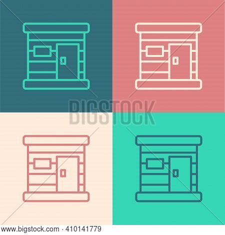 Pop Art Line Sauna Wooden Bathhouse Icon Isolated On Color Background. Heat Spa Relaxation Therapy B