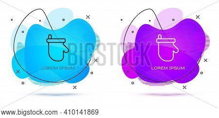 Line Sauna Mittens Icon Isolated On White Background. Mitten For Spa. Abstract Banner With Liquid Sh