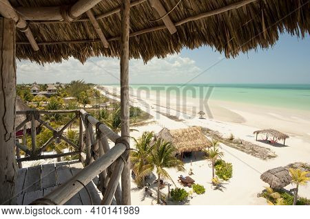 Fantastic Panoramic Aerial View From A Wooden Hut Of A Tropical Beach, Isla De Holbox, Mexico, Holid