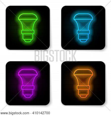 Glowing Neon Line Led Light Bulb Icon Isolated On White Background. Economical Led Illuminated Light