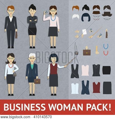 Business Woman Constructor With Full Length Female Figures In Office Clothing And Stylish Accessorie
