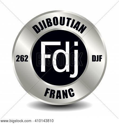 Djibouti Money Icon Isolated On Round Silver Coin. Vector Sign Of Currency Symbol With International