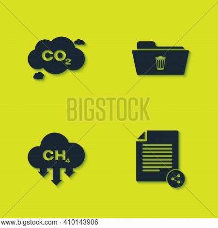 Set Co2 Emissions In Cloud, Share File, Methane Reduction And Delete Folder Icon. Vector