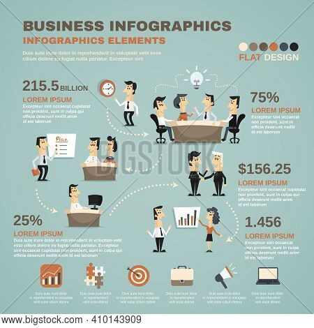 Office Work Business Team Effective Management And Creative Planning Infographics Charts Poster Prin