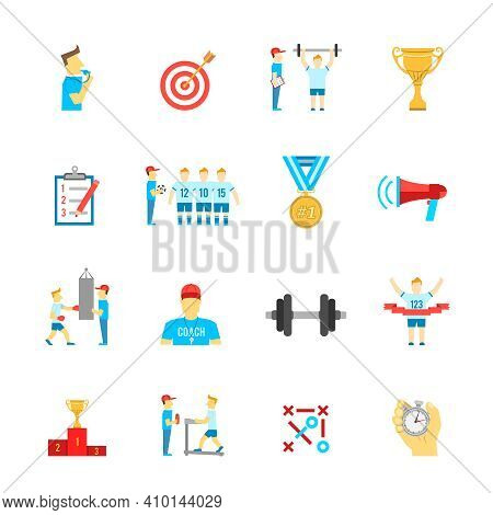 Coaching Football Team Planning Boxing Training Flat Icons Set With Trophy Winner Abstract Isolated