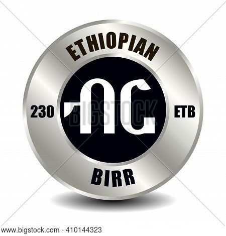 Ethiopia Money Icon Isolated On Round Silver Coin. Vector Sign Of Currency Symbol With International