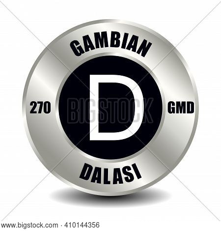 Gambia Money Icon Isolated On Round Silver Coin. Vector Sign Of Currency Symbol With International I