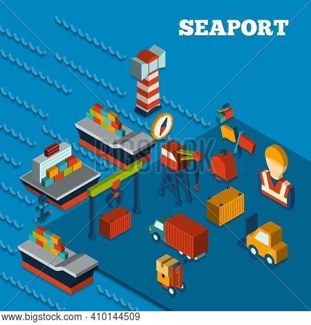 Seaport Freight Transportation Concept With Isometric Icons Set Vector Illustration