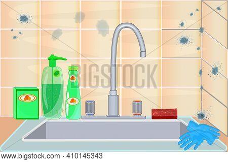 Mold On Ceramic Tile. Mildew In Kitchen. Dark Stains On The Wall. Toxic Mold Spores, Health Hazard.