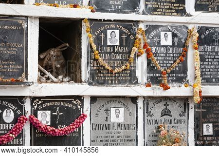 Panaji, India - November 07, 2011. Columbarium Wall At A Burial Ground, Cemetery Niches In A Graveya
