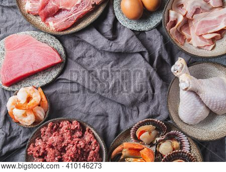 Animal Protein Sources Background With Copy Space. Carnivore Diet Concept. Meat, Cheese, Fish, Eggs