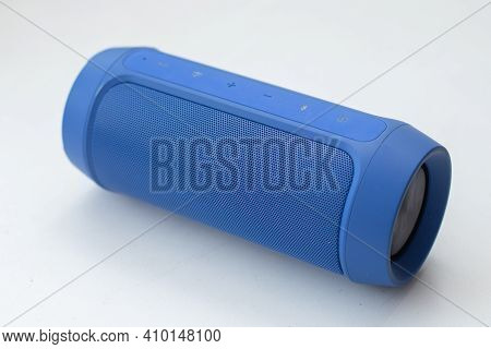 Portable Blue Wireless Speaker On White Background