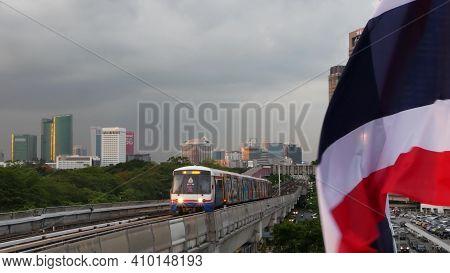 Bangkok, Thailand - 10 July, 2019: View Of Modern Asian City From Bts Sky Train Platform. Train On M