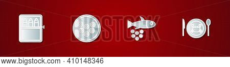 Set Canned Fish, Caviar On Plate, Fish With Caviar And Served Crab Icon. Vector