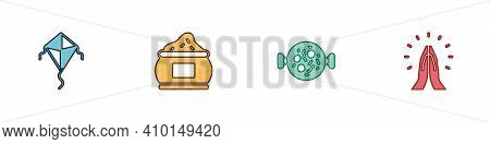 Set Kite, Indian , Chicken Tikka Masala And Hands In Praying Position Icon. Vector
