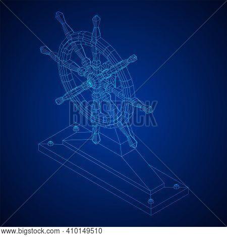 Ship Steering Wheel. Marine Rudder. Wireframe Low Poly Mesh Vector Illustration.