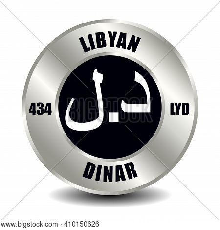 Libya Money Icon Isolated On Round Silver Coin. Vector Sign Of Currency Symbol With International Is