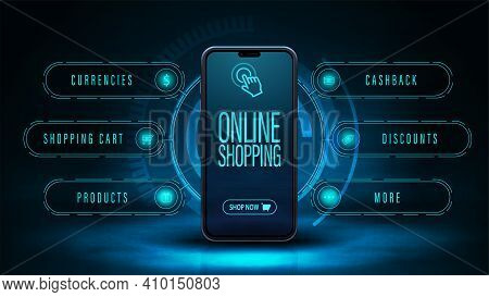 Online Shopping, Dark And Blue Digital Web Banner With Smartphone And Hologram Interface Around. Web