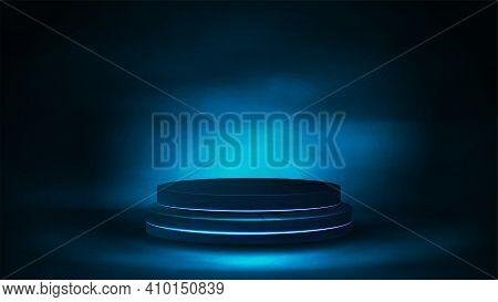 Empty Podium In Fog, Realistic Vector Illustration. Blue Digital Scene For Your Product Presentation