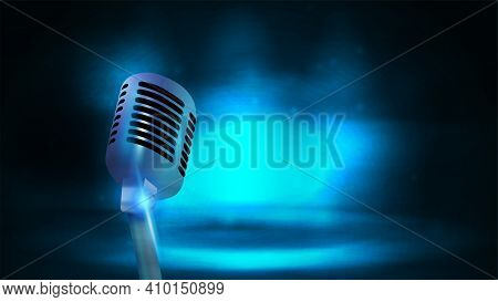 Single Silver Old School Broadcast Microphone On Background With Dark And Blue Empty Scene. Poster W