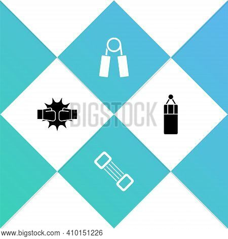 Set Punch In Boxing Gloves, Chest Expander, Sport And Punching Bag Icon. Vector