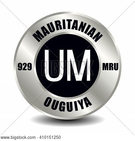 Mauritania Money Icon Isolated On Round Silver Coin. Vector Sign Of Currency Symbol With Internation