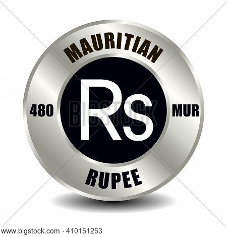 Mauritius Money Icon Isolated On Round Silver Coin. Vector Sign Of Currency Symbol With Internationa