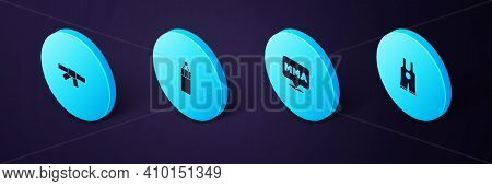 Set Isometric Wrestling Singlet, Fight Club Mma, Punching Bag And Black Karate Belt Icon. Vector